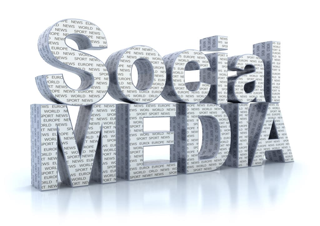 Social Media word isolated on white